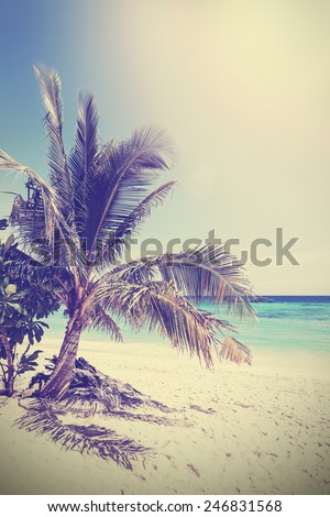 Vintage filtered picture of tropical beach. Koh Lipe in Thailand. - stock photo