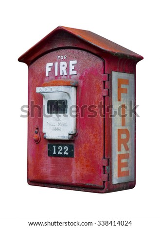 Vintage fire call box, isolated - stock photo