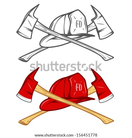 Vintage firefighter helm with crossed axes - stock photo