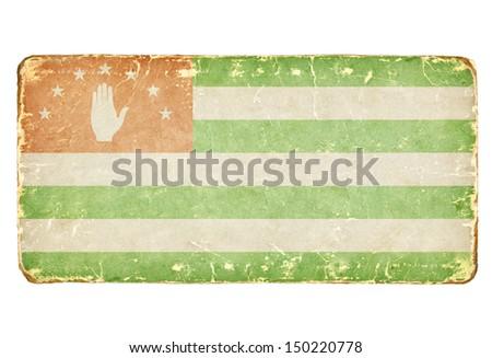 Vintage Flag of Abkhazia. Background. - stock photo