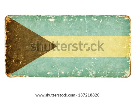 Vintage flag of Bahamas. - stock photo
