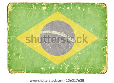 Vintage flag of Brazil. - stock photo