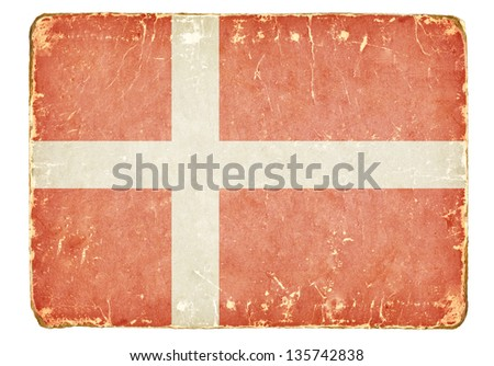 Vintage flag of Denmark. - stock photo