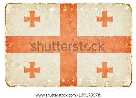Vintage flag of Georgia. - stock photo