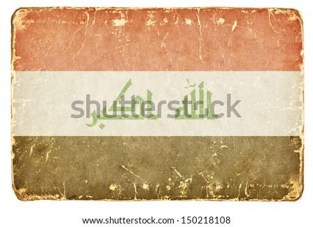 Vintage flag of Iraq. Background. - stock photo