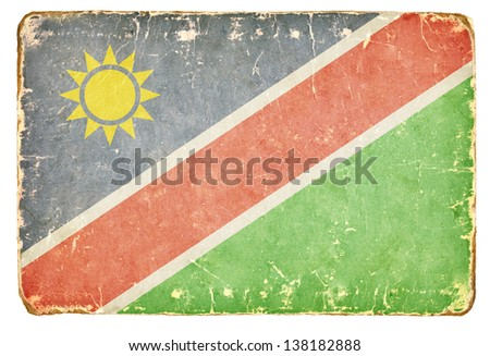 Vintage Flag of Namibia. - stock photo