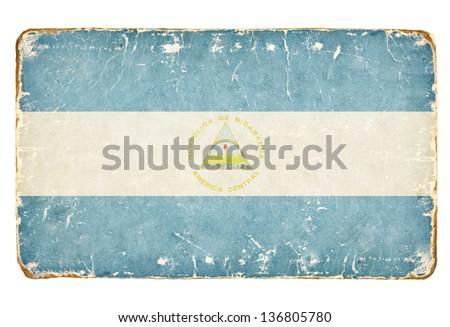 Vintage flag of Nicaragua. - stock photo