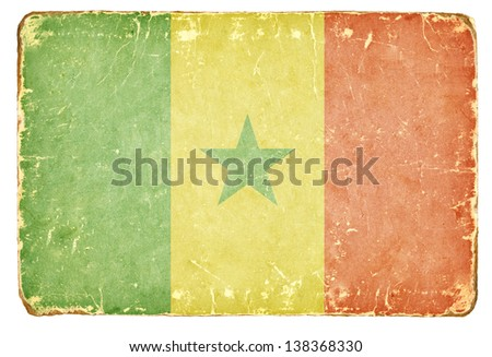 Vintage flag of Senegal. - stock photo