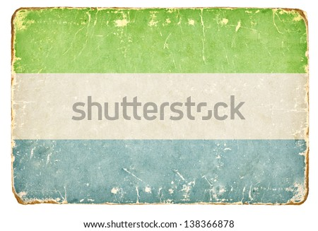 Vintage flag of Sierra Leone. - stock photo