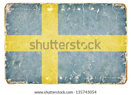 Vintage flag of Sweden. - stock photo