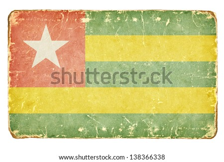 Vintage flag of Togo. - stock photo