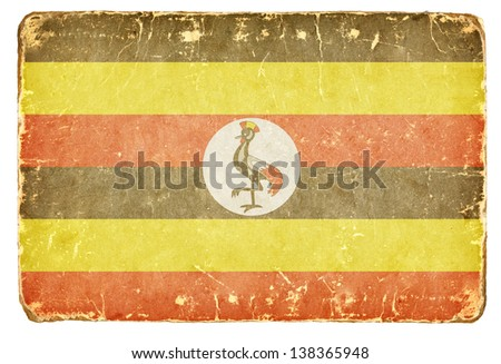 Vintage flag of Uganda. - stock photo