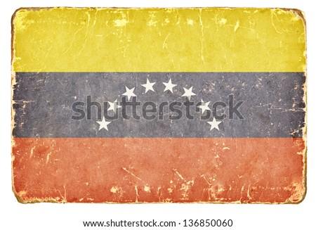 Vintage flag of Venezuela. - stock photo