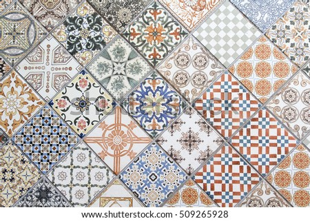 Vintage Floor Tile Texture Background.