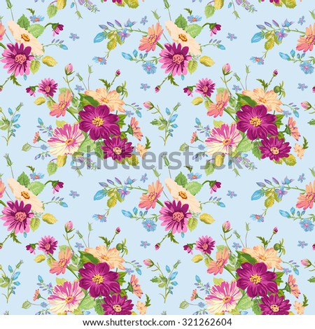 Vintage Floral Background - seamless pattern for design, print, scrapbook - stock photo