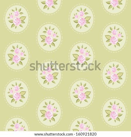 Vintage floral background with roses in shabby chic style