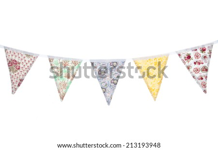vintage floral bunting studio cutout - stock photo