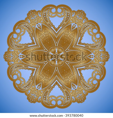 Vintage floral decorative element for design, print, embroidery. Raster version. - stock photo
