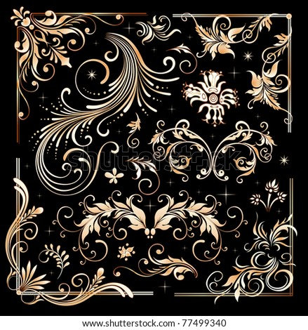 Vintage floral elements, ornament frames and gold flourishes - stock photo