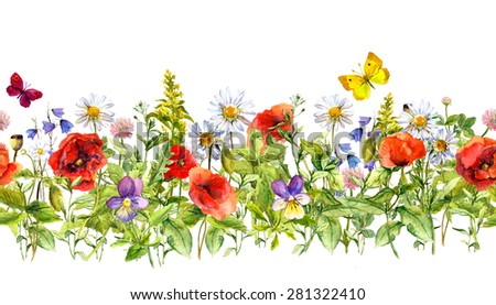 Vintage floral horizontal border. Watercolor meadow flowers, grass, herbs. Seamless frame - stock photo