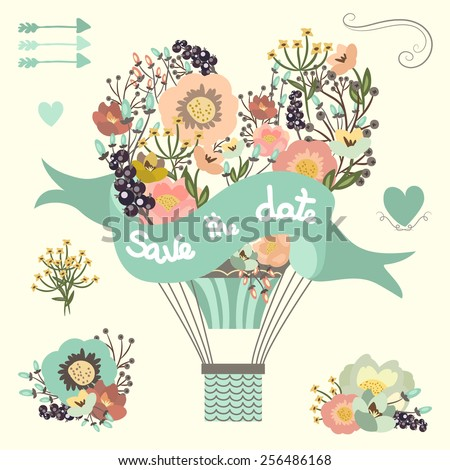 Vintage floral hot air balloon. Wedding graphic set with flowers elements, arrows and hearts - stock photo