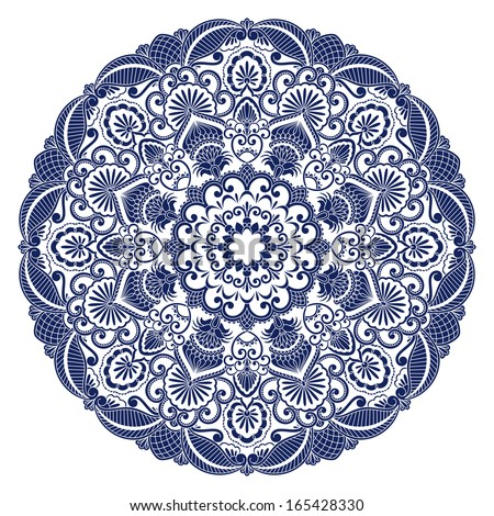 Vintage floral pattern for print, embroidery. Raster version. - stock photo