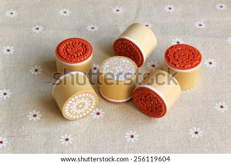 Vintage floral rubber stamps for scrapbook and handicrafts - stock photo