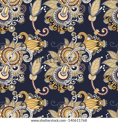 vintage floral seamless paisley pattern, raster version - stock photo