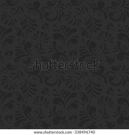 Vintage Floral Seamless Pattern. Subtle Black Background - stock photo
