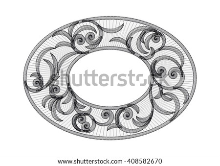 Vintage floral swirl oval ornamental frame. 3d mesh pattern with curl pattern - stock photo