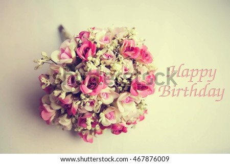 Vintage Flowers Birthday Cards ~ Vintage flowers card happy birthday holiday stock photo