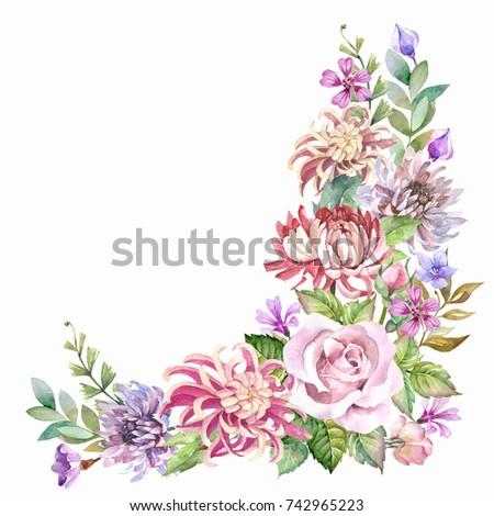 Vintage Flowers Cornerwatercolor Stock Illustration 742965223