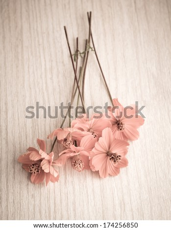 Vintage flowers on a light wooden background.  - stock photo