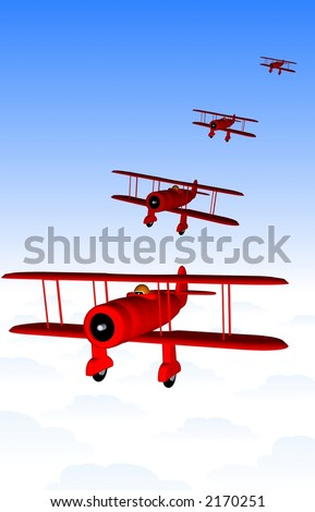 Vintage Flying Squadron in Formation - stock photo