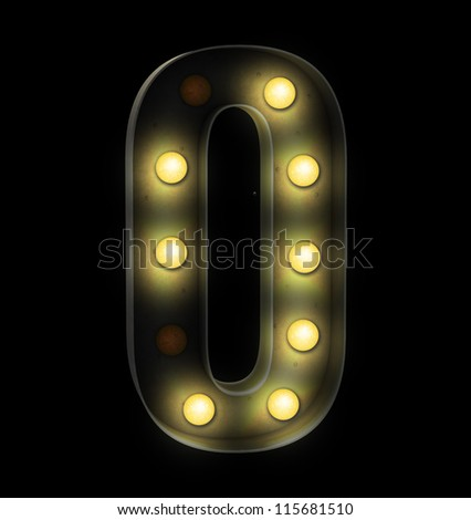 vintage font sign light number zero - stock photo