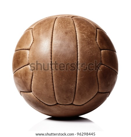 vintage football ball on white background - stock photo