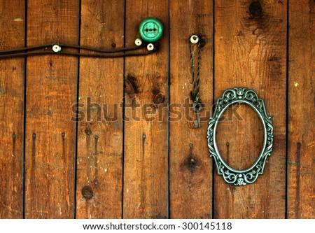 Porthole On Wooden Background Pirate Ship Stock Photo
