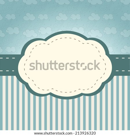 Vintage frame. Background with retro style clouds and stripes - stock photo