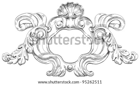 Vintage frame. Bitmap copy my vector drawing - stock photo