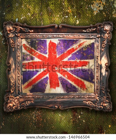 vintage frame flag Great Britain abstraction grunge - stock photo
