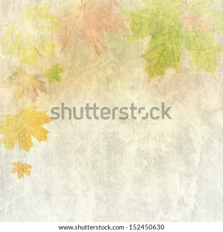 Vintage frame from autumn leaves on colorful background