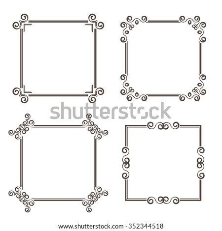 Vintage frame set, retro  background with place for your text. Antique ornament and element for page decoration and design. For web and print design, scrap booking - stock photo