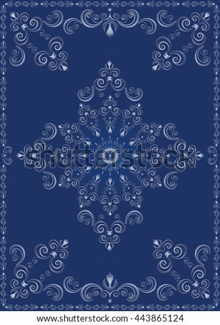 Vintage frame with blue luxury ornament on blue background  - stock photo