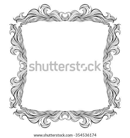 Vintage frame with place for text. For invitation, greeting, wedding, menu list. Baroque frame silhouette isolated on white. - stock photo