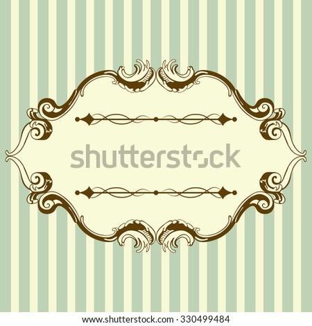 Vintage Frame With Retro Ornament Elements in Antique Rococo Style. Elegant  Decorative Design. Raster Illustration. - stock photo