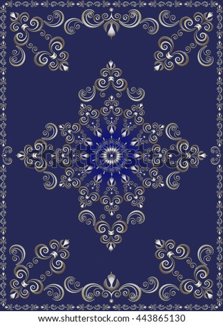 Vintage  frame with silver luxury ornament on ultramarine background - stock photo