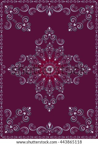 Vintage  frame with violet luxury ornament on magenta background - stock photo