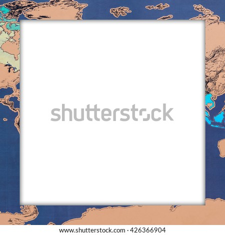 Vintage frame with world map pattern. Elegant Design with copy space for placement your text, mock up your product, image inside the frame. - stock photo