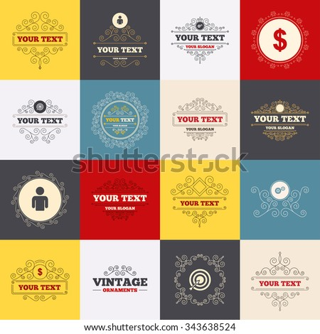 Vintage frames, labels. Business icons. Human silhouette and aim targer with arrow signs. Dollar currency and gear symbols. Scroll elements.  - stock photo