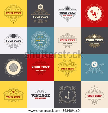 Vintage frames, labels. Golf ball icons. Fireball with club sign. Luxury sport symbol. Scroll elements.  - stock photo